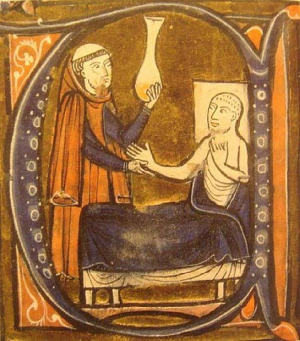 """Representación europea del doctor persa (iraní) Al-Razi, en Gerardus Cremonensis """"Recueil des traités de médecine"""" 1250-1260. (Dominio público)"""
