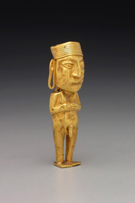 Ejemplo de una antigua figura dorada inca de un hombre. (Dominio publico)