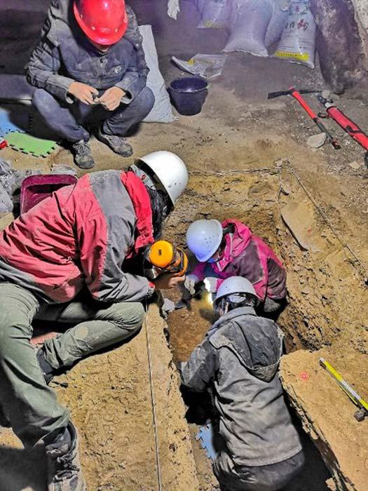 Excavando en la cueva de Karst Baishiya. (Dongju Zhang, Universidad de Lanzhou)