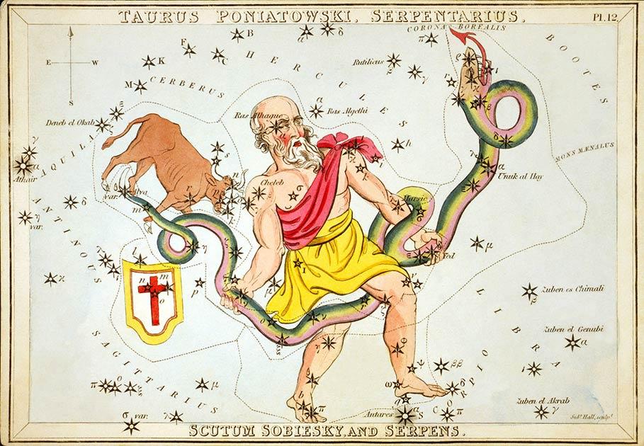 Ofiuco, el decimotercer signo del zodiaco, como se muestra en Urania's Mirror, un conjunto de tarjetas de constelaciones publicadas en Londres c. 1825. Fuente: Sidney Hall / Dominio público