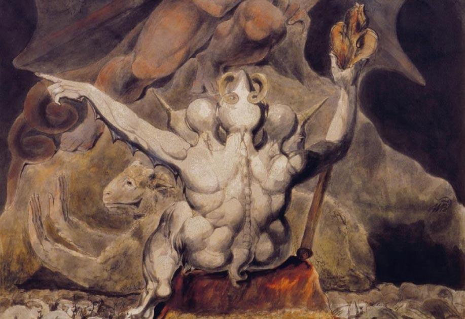 Detalle de 'El número de la bestia es 666' (1805) de William Blake.