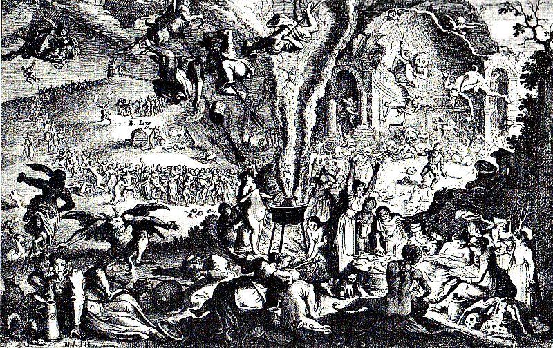 Antiguo grabado con la representación de un aquelarre. (Wikimedia Commons)