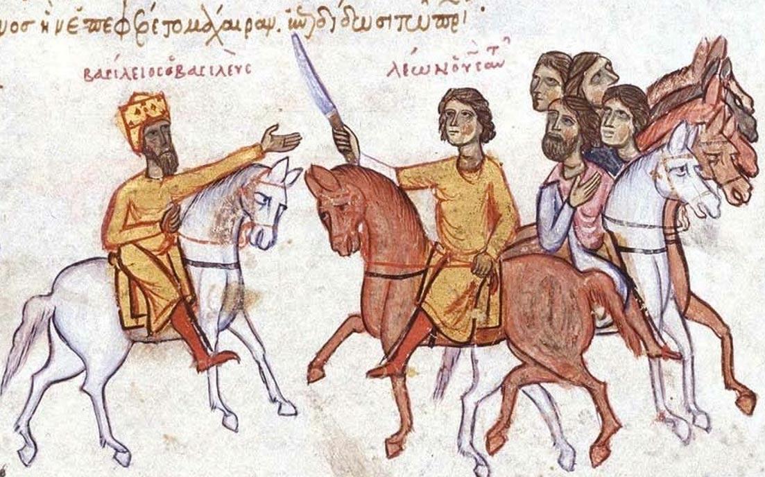 El emperador bizantino Basilio I (izquierda) con su hijo León VI. Imagen: Ghirlandajo, 2005.