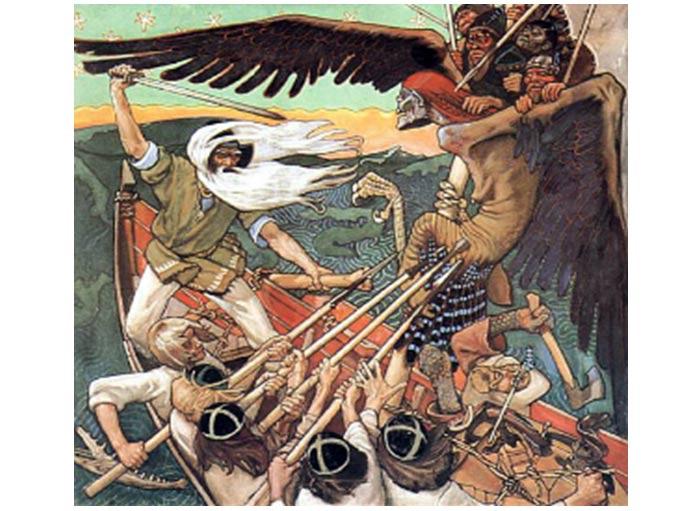 La Defensa del Sampo, por Akseli Gallen-Kallela, muestra a Louhi volando bajo la forma de una criatura alada. Creado en 1895 por un artista desconocido. Fotografía por Akseli Gallen-Kallela.