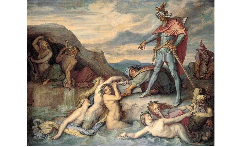 Pintura que ilustra el Nibelungenlied: Hagen ordena a sus sirvientes arrojar el tesoro al fondo del río Rhin (Peter von Cornelius, 1859).
