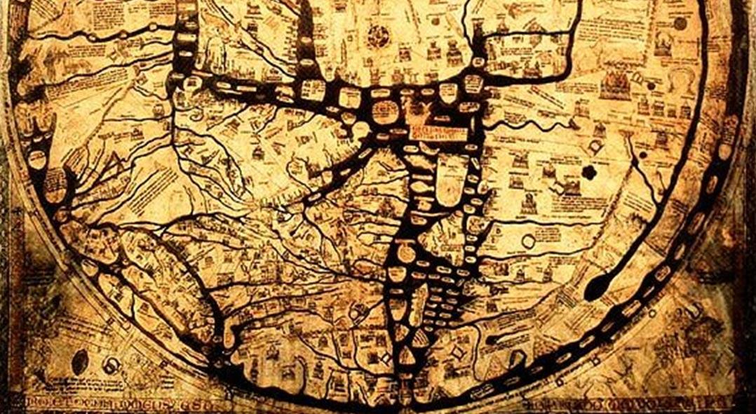 """Detalle, el Mapa Mundo medieval de Hereford, """"Tela del Mundo"""" en Hereford, Inglaterra. Acerca de 1300."""