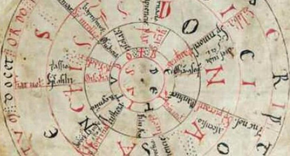 Portada- Primer plano de la Rueda de Oraciones del Evangelio de Liesborn (Proxy Ponder)