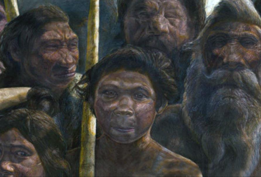 Portada-Recreación artística de un grupo de antiguos homínidos. Autoría: Javier Trueba, Madrid Scientific Films.