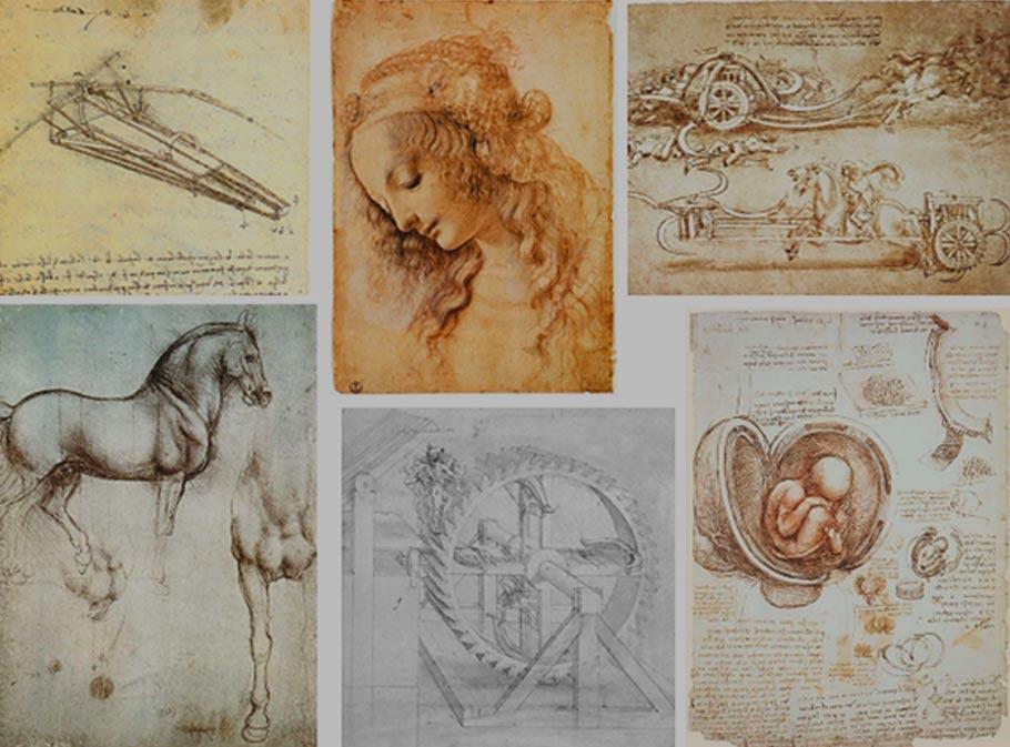 Portada-Conjunto de dibujos de Leonardo da Vinci. (En el sentido de las agujas del reloj, empezando por la esquina superior izquierda): Diseño de una máquina voladora (1488) (Public Domain), Cabeza de mujer (c. 1470-1476) (Public Domain), Carro de Asalto con guadañas (1485) (Public Domain), Estudio de Embriones (1509-1510) (Public Domain), Ingranaggio – Engranajes de Madera (Public Domain), Estudio de caballos (c. 1490) (Public Domain)