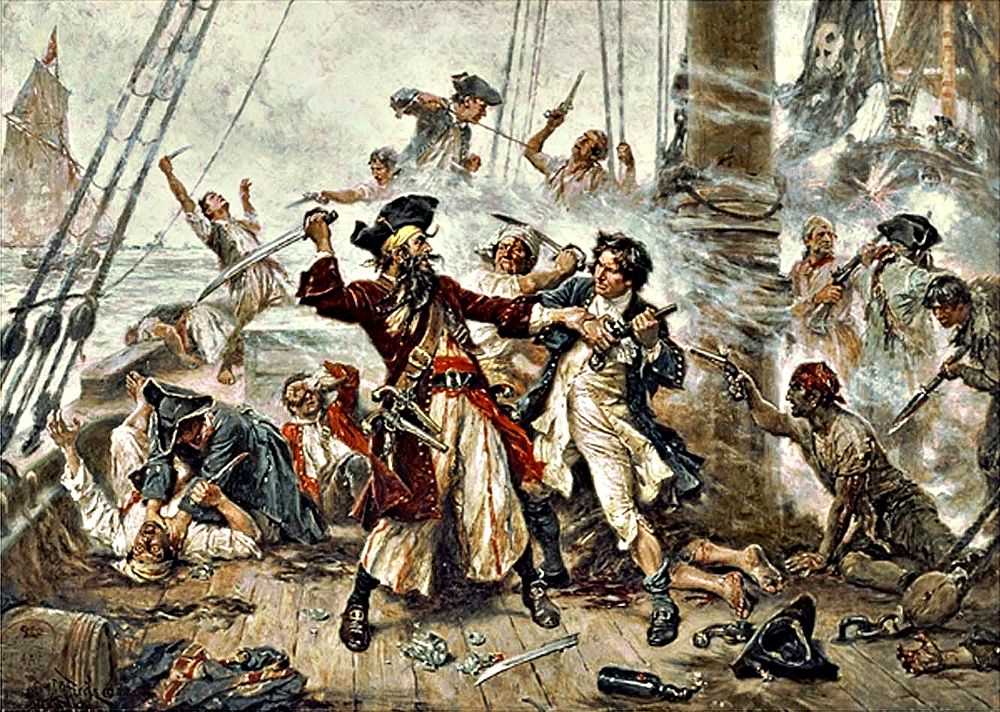 Portada-Barbanegra luchando contra el teniente Robert Maynard. Obra de Jean Leon Gerome Ferris (1920). (Wikimedia Commons)