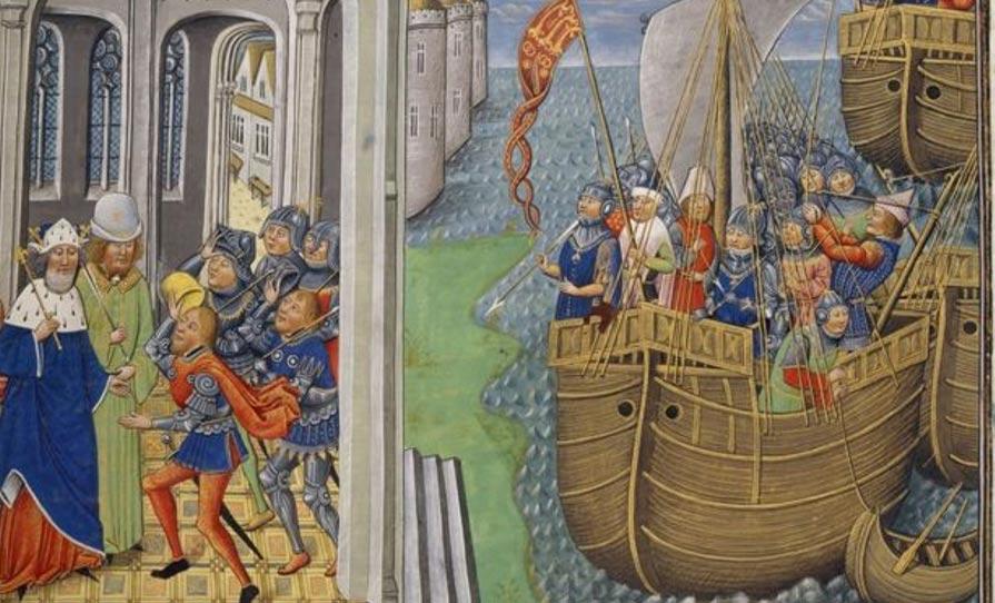 Portada-Pintura de un barco medieval en la que podemos apreciar el posible aspecto que tendría el Holy Ghost. Cedida por: Biblioteca Británica / Historic England.