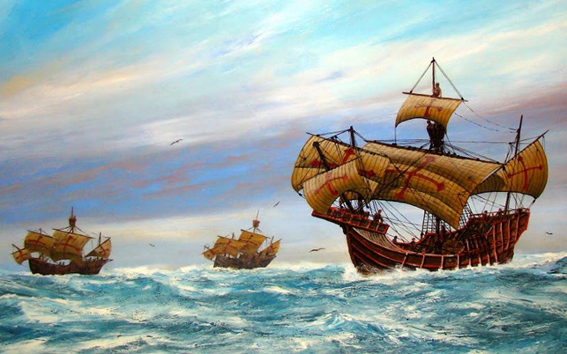 La Niña, La Pinta y la Santa María. Pintura expuesta en el Museo Marítimo de San Diego. (CC BY NC ND 3.0)