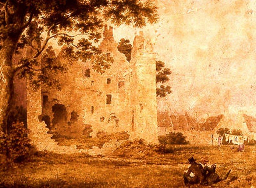 Portada-Castillo de Partick, acuarela pintada por John A. Gilfillan (1793-1864). (The Glasgow Story)