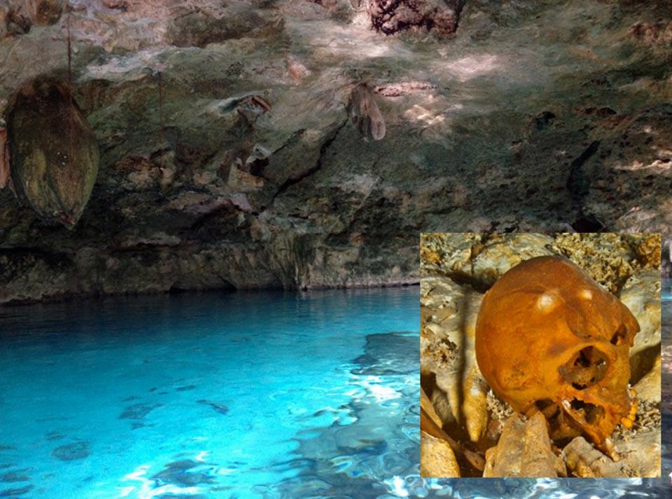 Portada-Cenote de Tulum, México (Christine Rondeau / Tulum). Detalle: Antiguo cráneo descubierto en el cenote de Tulum. (Foto: Roberto Chávez Arce)
