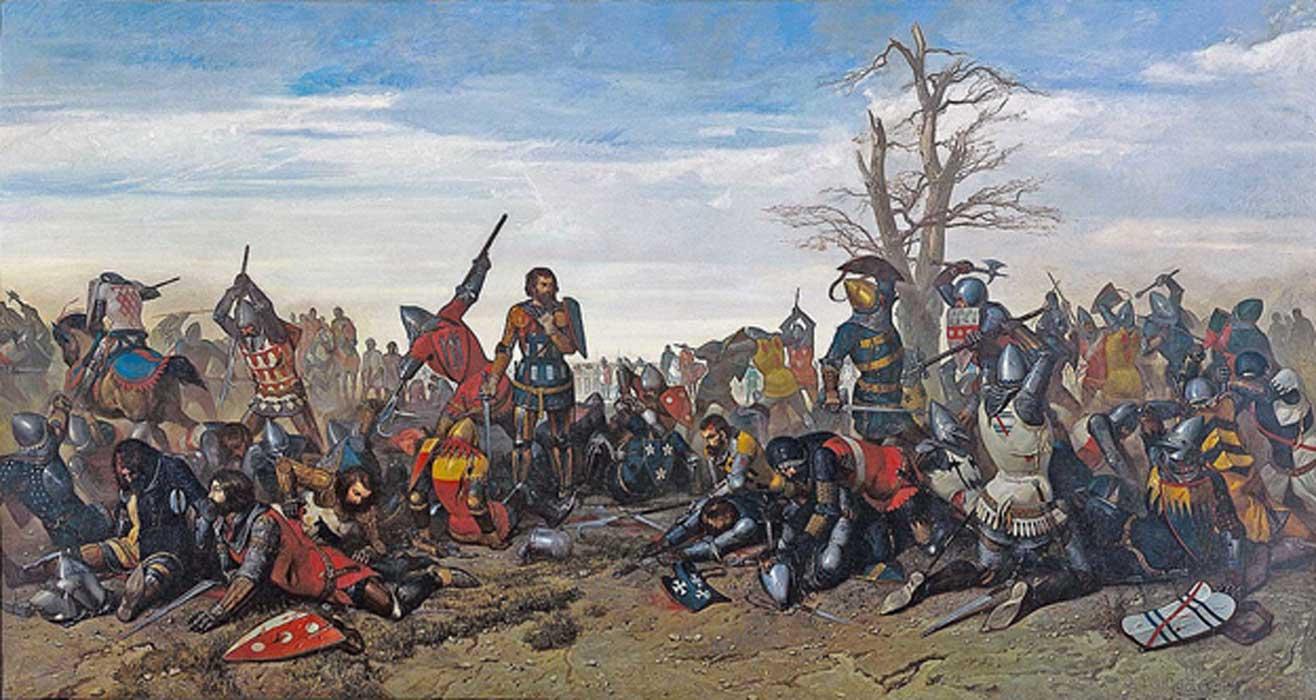 Portada - El Combate de los Treinta (26-27 marzo de 1351). 'Combat des Trente', óleo de Octave Penguilly L'Haridon - Musée des Beaux-Arts de Quimper. Fuente: Dominio público