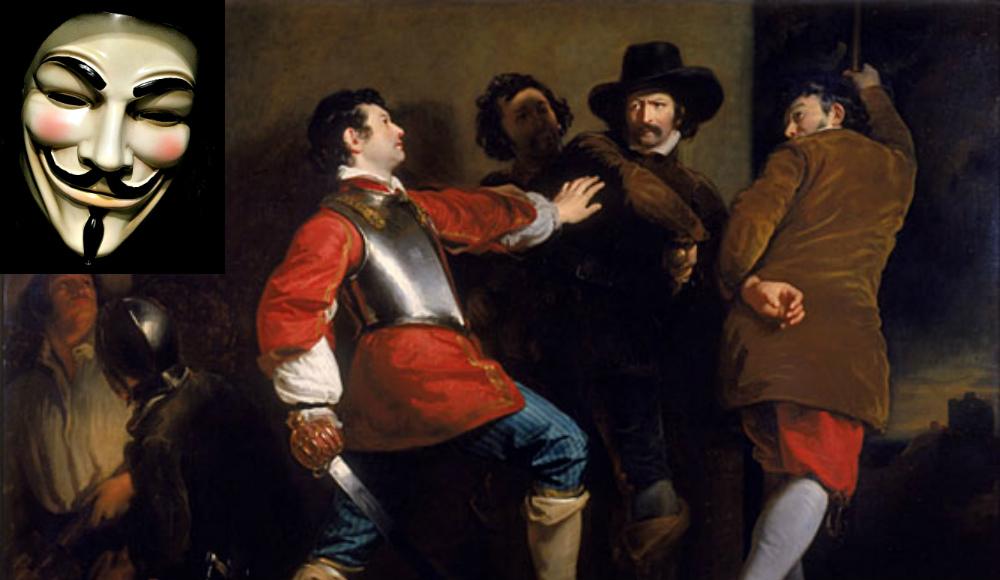 """Portada-El descubrimiento de la Conspiración de la Pólvora y la detención de Guy Fawkes (1823), óleo de Henry Perronet Briggs. (Public Domain). Detalle: Máscara original de Guy Fawkes empleada en el rodaje de la película """"V de Vendetta"""" (Public Domain)"""