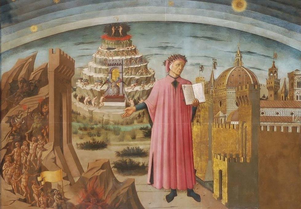 Portada-Fresco de Dante y la Divina Comedia (1465), obra de Domenico di Michelino, catedral de Florencia, Italia (Wikimedia Commons)