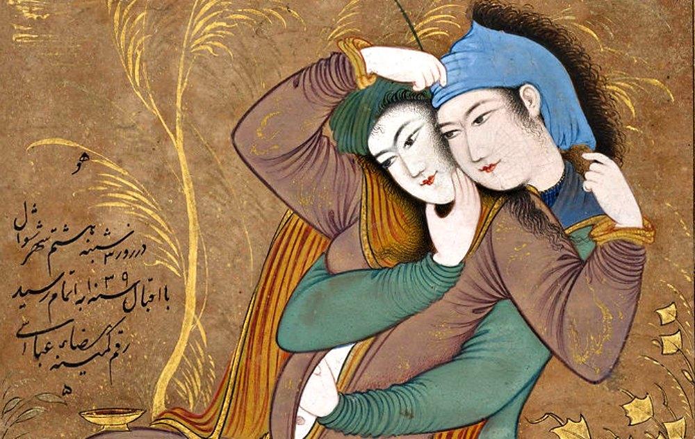 Portada-Detalle de una miniatura persa de Reza Abbasi en la que se puede observar a una pareja de amantes (1629-1630). Museo Metropolitano de Arte de Nueva York, Estados Unidos. (Public Domain)