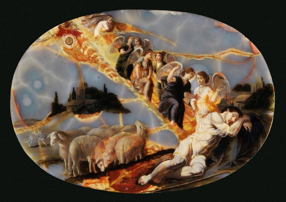 Portada - 'La escalera de Jacob', óleo sobre ónice de Jacques Stella pintado hacia el año 1650. Museo de Arte del Condado de Los Ángeles.