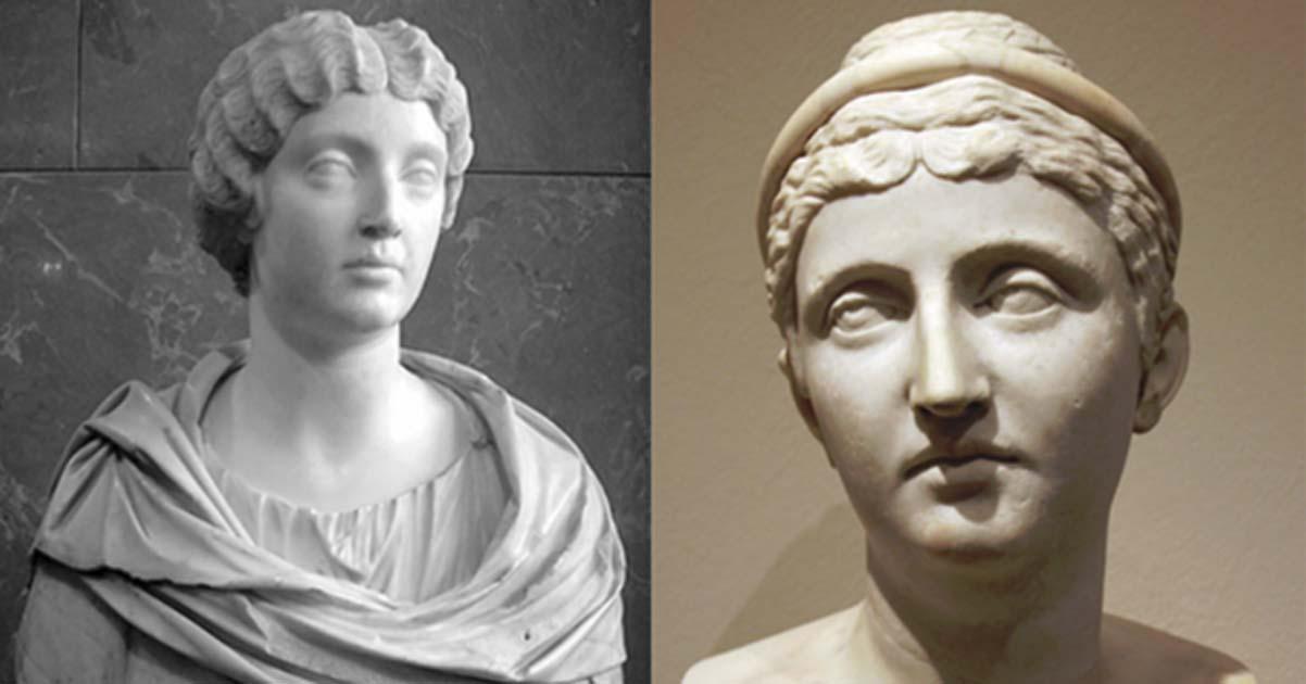 Portada - Fotocomposición. A la izquierda, Faustina la Menor (CC BY-SA 3.0). A la derecho, Faustina la Mayor (CC BY 3.0).