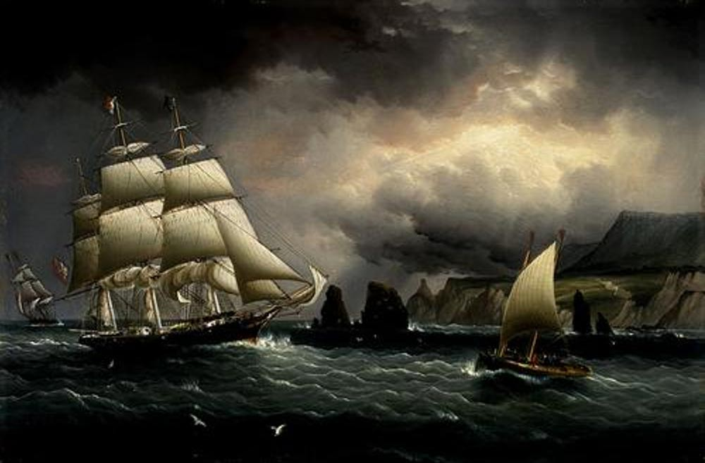 "Pintura del ""Flying Cloud"" cerca de la Isla de Wight, en Inglaterra. Public Domain"