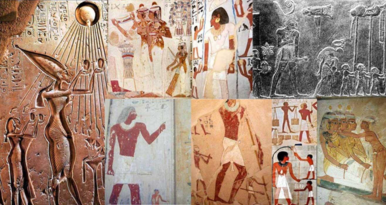 Portada - Varias imágenes de gigantes en el arte del antiguo Egipto recopiladas por Muhammad Abdo. Fuente: Muhammad Abdo.