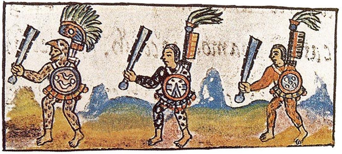 Portada - Guerrero águila (izquierda) empuñando un macuahuitl (maza de madera con hojas de obsidiana incrustadas). 'Historia general de las cosas de Nueva España' (Códice Florentino).