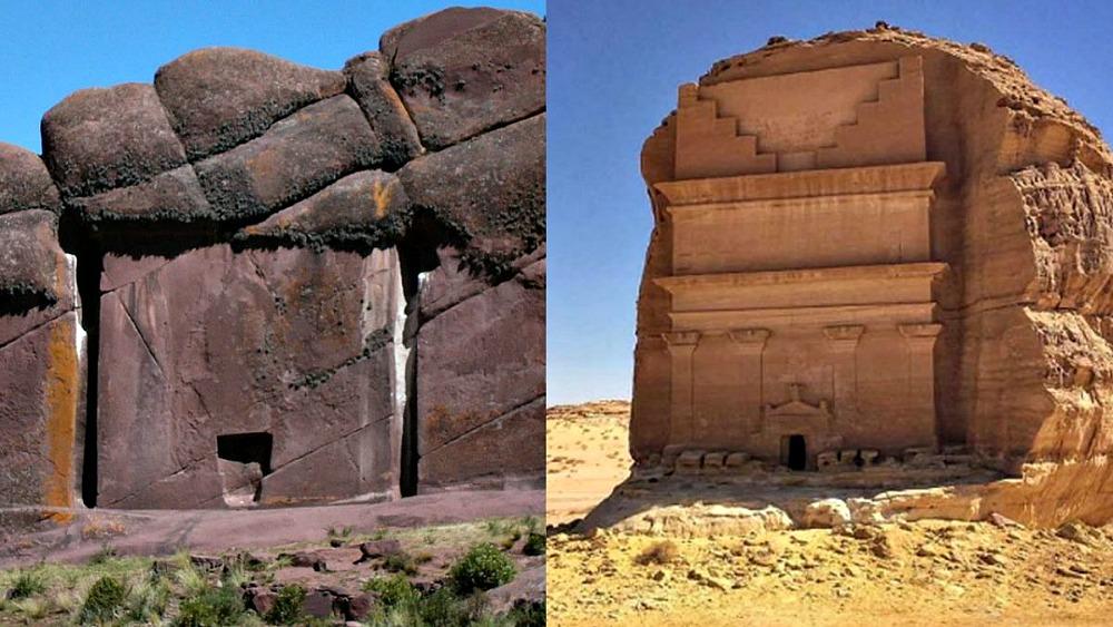 Portada - A la izquierda, Hayu Marka, en el Perú actual y a la derecha, Mada'in Saleh, Arabia Saudita (Fotografía: Código Oculto).