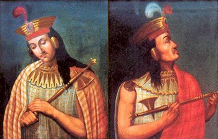 Portada-Retratos de Huáscar y Atahualpa aparecidos en sellos peruanos emitidos en el año 2004.(Stamps Peru)