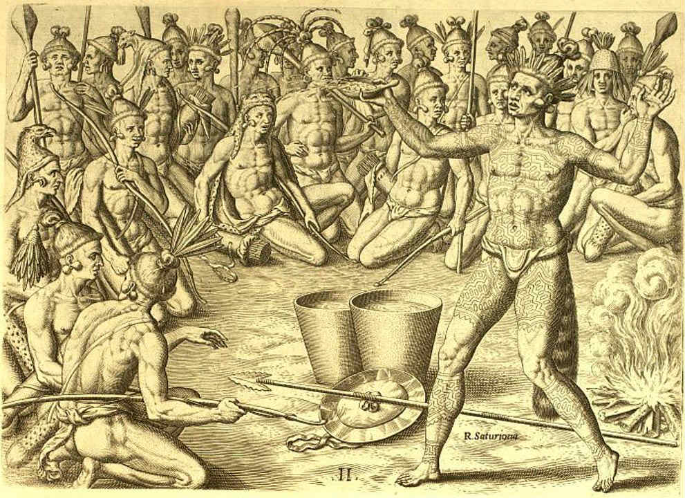 """Portada-El jefe Saturiwa prepara a sus hombres para la batalla durante una ceremonia en la que se consumirá """"bebida negra"""". Centro de Tecnología Educacional de Florida, Universidad del Sur de Florida/Public Domain"""
