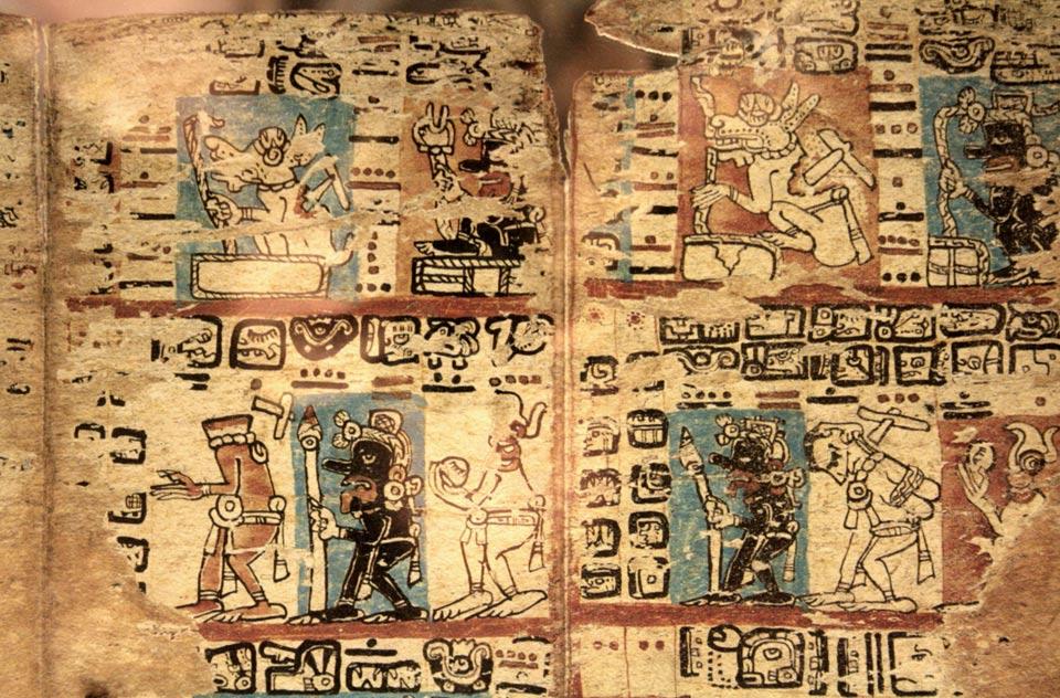 Portada-Códice de Madrid, códice maya también conocido como Tro-Cortesiano. Origen desconocido. Época: finales del período Postclásico. (Wikimedia Commons).