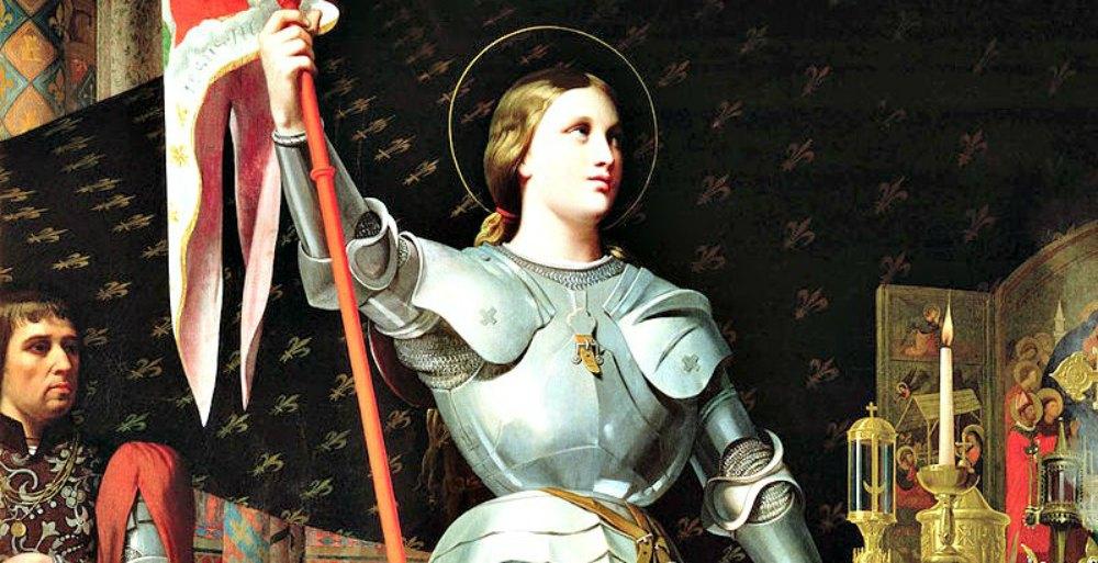 """Portada-Detalle del óleo """"Juana en la coronación de Carlos VII"""", pintado en 1854 por Jean Auguste Dominique Ingres (1780–1867). Museo del Louvre. (Public Domain)"""
