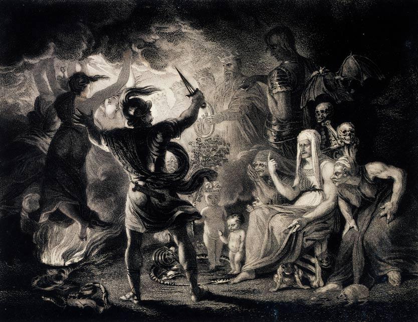 Portada - Macbeth ante las tres brujas. Grabado basado en un original de Reynolds c. 1786 (Public Domain). A los pies de las brujas se pueden observar diversos animales familiares.