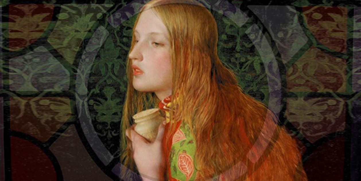 Portada - Composición - María Magdalena (Public Domain) y vidriera con la imagen de un cáliz (Joel Kramer/CC BY 2.0)