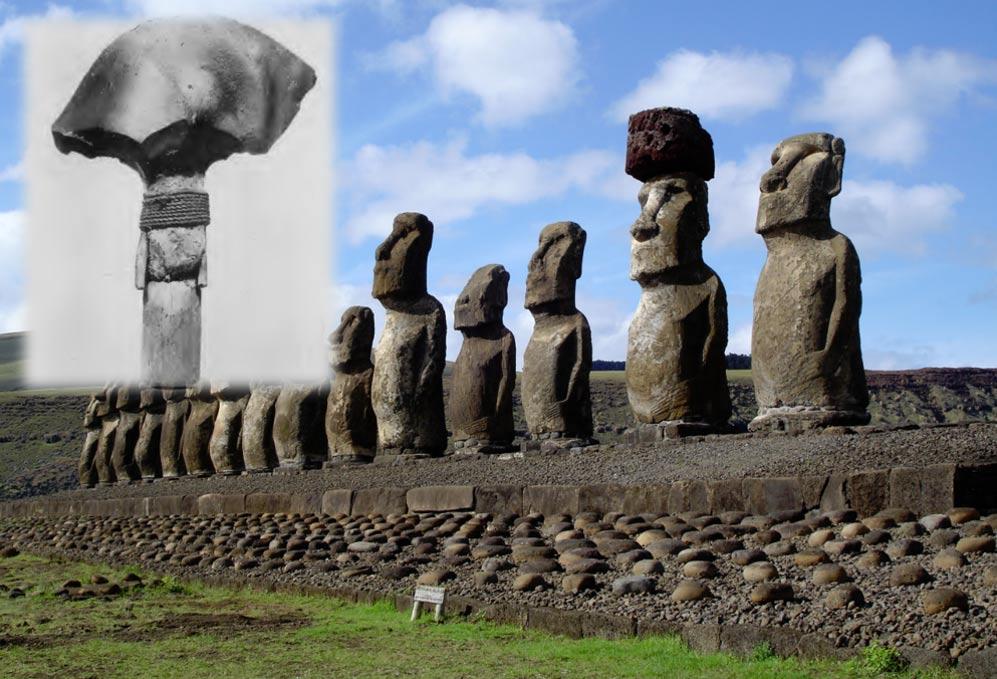 Portada-Moai de la isla de Pascua, fotografía de Honey Hooper. (CC BY 2.5). Detalle: lanza con hoja de obsidiana (Kellscraft.com)