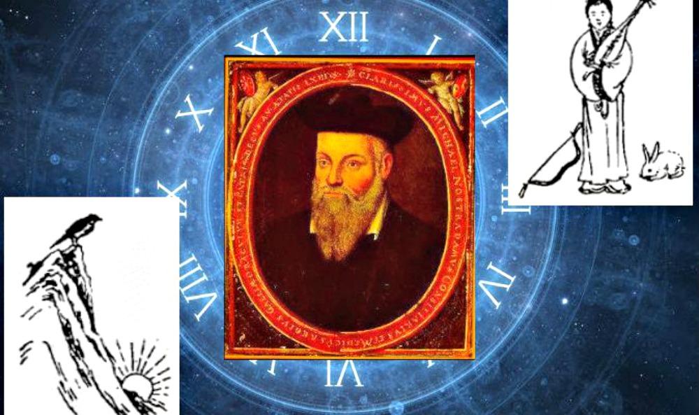 "Portada - Retrato del famoso profeta francés del siglo XVI Nostradamus junto a dibujos proféticos del libro chino ""Tui Bei Tu"". (Diseño: La Gran Época/Wikimedia Commons/Thinkstock)"