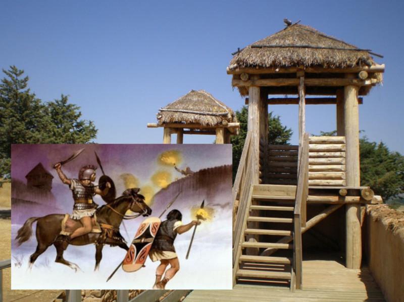 Portada - Principal: Reconstrucción de Numancia (CC by 3.0). Detalle: Guerreros celtíberos abren brecha en la empalizada construida por los romanos en torno a Numancia. (weaponsandwarfare)