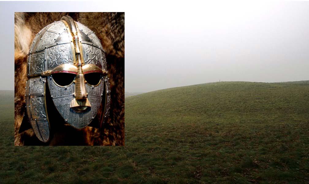 Portada - Principal: Túmulo funerario de Sutton Hoo (Public Domain). Detalle: Réplica de máscara anglosajona descubierta en Sutton Hoo (Bill Tyne / Flickr)