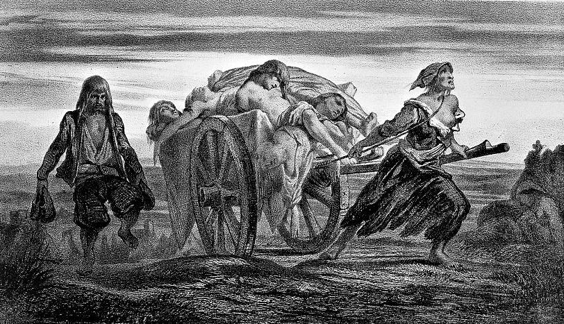 Carro cargado con víctimas de la peste, en Elliant, tirado por una mujer con la ropa hecha jirones. Litografía de Moynet basada en las Colecciones de Duveau. (Wikimedia Commons)