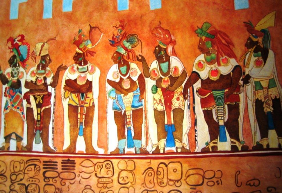Portada-Copia de una pintura de Bonampak en Chetumal. Copiada de una de las pinturas murales del Templo de los Murales de Bonampak, templo maya situado en la región mexicana de Chiapas. (Wikimedia Commons)