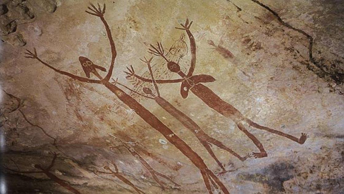 Antiguas pinturas rupestres Aborígenes de los míticos Quinkins/Yowies. Laura, Australia. (Public Domain)