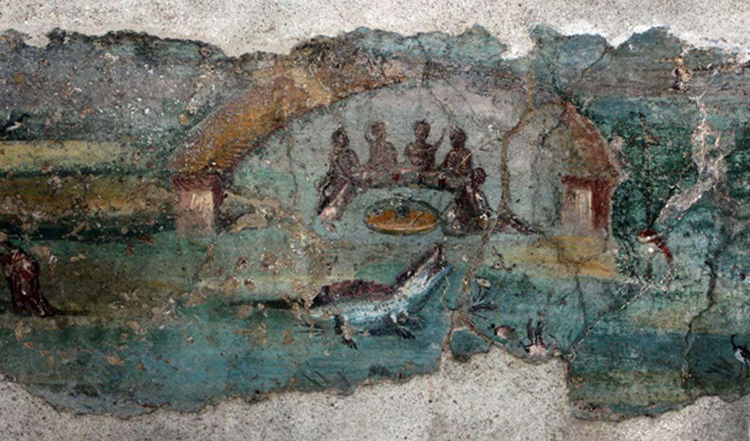Portada - Una de las pinturas halladas recientemente en la Casa dell'Efebo de Pompeya en la que se observa una escena ambientada en el antiguo Egipto, con el río Nilo y un cocodrilo. (CC by SA 4.0)