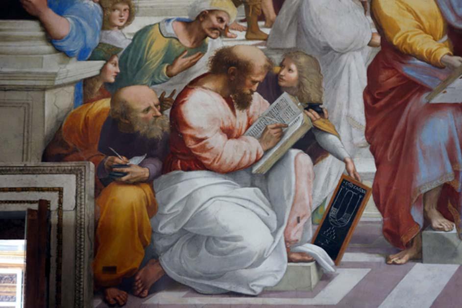 Portada - Escuela de Atenas (1509-1511), fresco de Rafael en el que aparece Pitágoras escribiendo en un libro. (Steven Zucker / flickr)