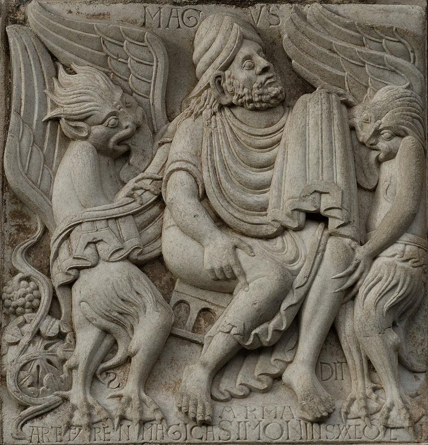 Portada-Relieve de la Puerta de Miègeville de la Basílica de Saint-Sernin en Toulouse. El relieve muestra a Simon Magus, dos demonios y el descubrimiento del vino.jpg