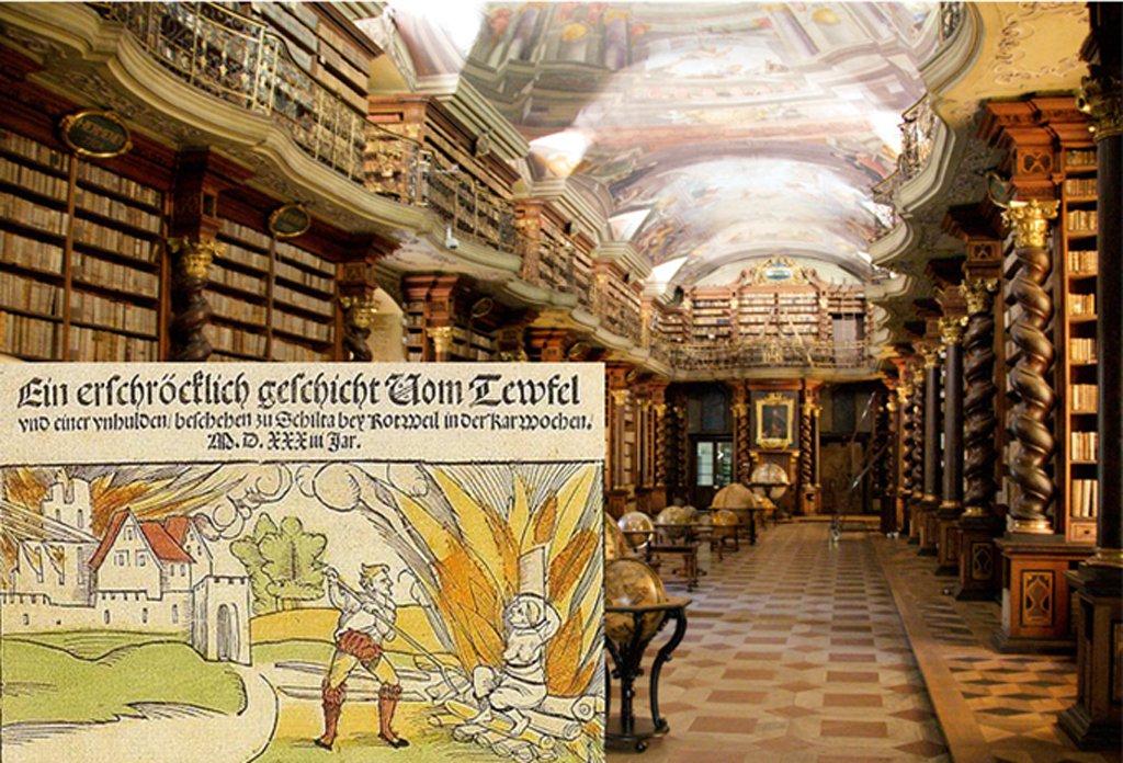 Portada-La sala barroca de la Biblioteca Nacional de la República Checa, en Praga. En esta biblioteca se ha hallado una colección de 13.000 libros sobre ocultismo y brujería que formaron parte en su momento de la biblioteca sobre brujería de Himmler. (CC BY 2.0) Detalle: Documento del año 1533 en el que da testimonio de la ejecución de una bruja condenada a la hoguera en la población alemana de Schiltach en 1531. (Public Domain)