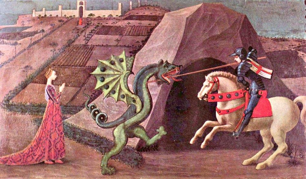 Portada-San Jorge y el dragón, Paolo Uccello, (c. 1456-1470), temple sobre madera. Museo Jacquemart-André de París, Francia.