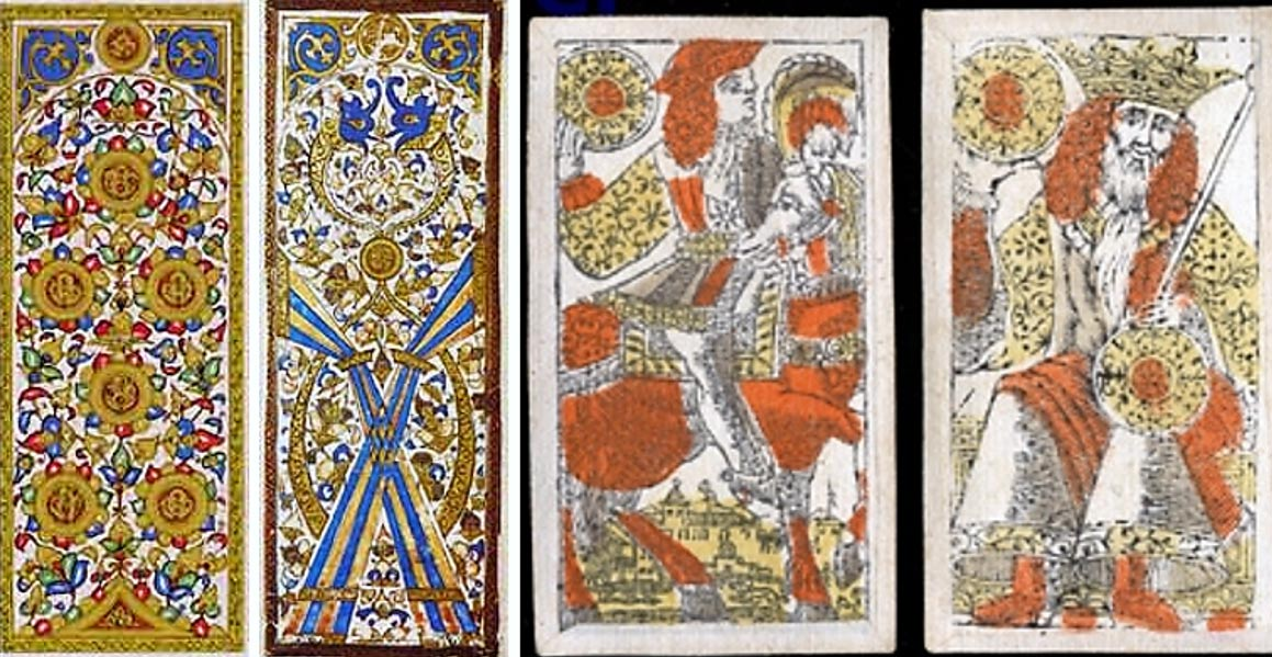 Portada-Izquierda: reverso de dos naipes de origen mameluco (Public Domain & Public Domain); Derecha: caballo de oros y rey de oros de una baraja veneciana (Public Domain). Fotografías: www.collectorsweekly.com