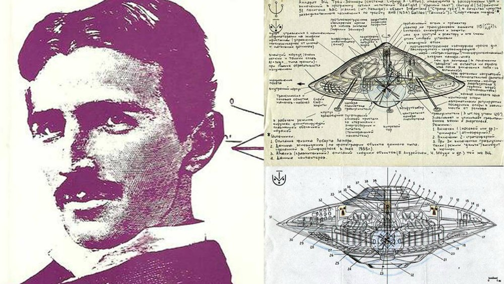 Portada - Retrato de Nikola Tesla junto a dos diseños de máquinas voladoras. (Código Oculto).
