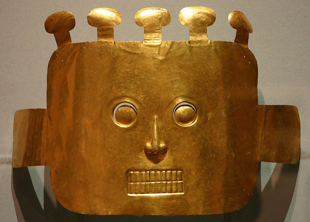 """Portada-Máscara Funeraria, cultura Malagana, 200 a. C. – 200 d. C., presente en la exposición """"El Espíritu del Antiguo Oro Colombiano"""". (David, Flickr/CC BY 2.0)"""