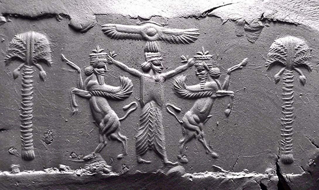 Home - impressão de argila moderna de um cilindro Aquemênida selar o século V.  C. Um disco solar alado legitima o rei persa, que se submete figuras da Mesopotâmia dois rampantes Lamassu.  (Domínio Público)